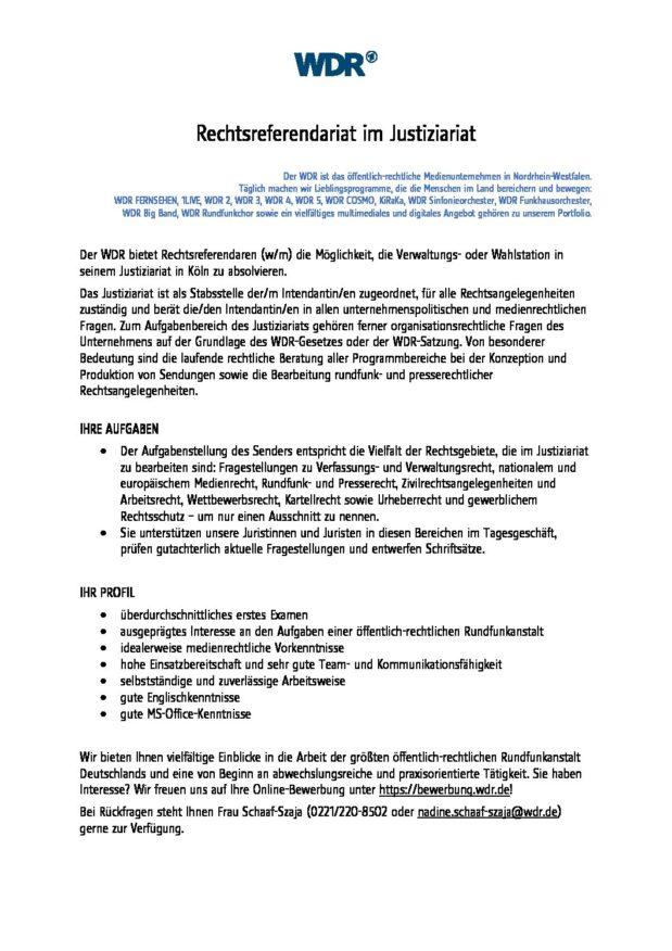 Wdr Ausschreibung Referendare Homepage Des Personalrats